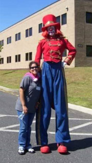 Stilt Walker at School